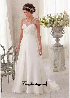 Alluring Chiffon & Tulle Jewel Neckline Natural Waistline A-line Wedding Dress