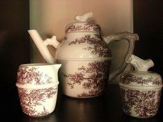HERMES Les Maisons Enchantées Coffee Tea Pot + Creamer Sugar Bowl Fine China EUC #HERMES
