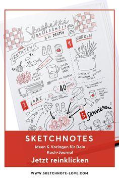 Eine wunderbare Geschenkidee habe ich hier für dich. Zeichne deine Lieblingsrezepte ganz einfach mit Sketchnotes Vorlagen.  Sketchnotes Rezepte zeichnest du ganz einfach, wenn du meinen Sketchnotes Vorlagen folgst. Mit diesen Büchern fällt dir das Zeichnen mit Sketchnotes wirklich nicht schwer. Bestelle dir hier gleich den Sketchnotes Quick-Start-Block, Sketchnotes – Die große Symbolbibliothek oder Sketchnotes – Visuelle Notizen für Alles und Sketchnotes Übungsbuch. #Nadine Roßa #Sketchnotes Visual Thinking, Sketch Notes, Simple Doodles, Food Illustrations, Planners, Maps, Bullet Journal, Lettering, Visual Note Taking