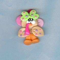 Cute Girly Turkey Polymer Clay Bow Centers, Beads, Pendants