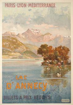 Lac d'Annecy, billets à prix réduits, Paris Lyon Méditerranée travel poster by Henri Ganier Tanconville / 1904