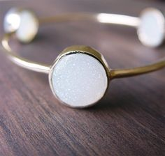Vanilla Druzy Gold Bangle by friedasophie on Etsy, $79.00