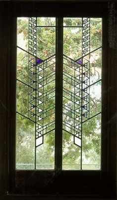 Hollyhock House - Stained glass windows by Frank Lloyd Wright