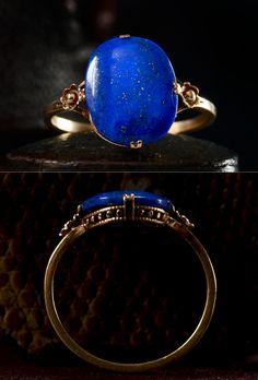 1900s Edwardian Lapis Signet Ring, 14K Gold, $650 via ERIE BASIN