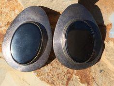 Navajo Sterling Silver & Hematite Pierced Earrings Signed