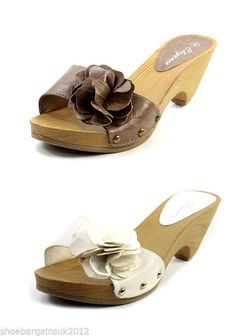 Womens Faux Leather White Brown Wooden Sandals Slip On Mules Casual Shoes UK4 -8 Now only £12.99 with fast and free postage!