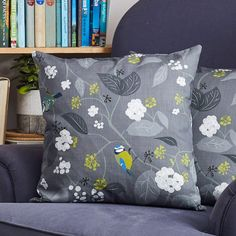 Shop for Blue Tit Cushions for your home by UK designer Lorna Syson. Bird cushion featuring ivy and berries in dark grey. Quality feather filled cushions for living spaces and bedrooms. Bird Free, British Garden, Color Of The Year, Pantone Color, Color Trends, Slate, Living Spaces, Floral Design, Cushions