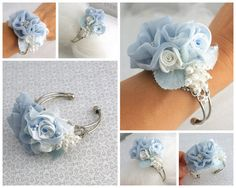 Corsage Wrist Corsage Mother of the Bride in Powder by SolBijou, $85.00