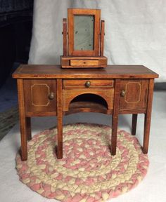 2 TYNIETOY wooden Dresser With mirror, Chair, Woven Rug Dollhouse Furniture | eBay