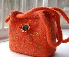 felted wool purse bag fall accessories orange tangerine tango. $90.00, via Etsy.