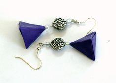 Purple Origami Earrings Geometric Shape Tetrahedron by JustFolds, $12.00