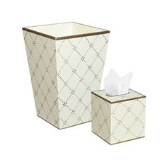 Gold/Ivory Rope Trellis Wastebasket and Tissue Box Holder