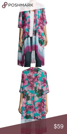 Philosophy Tropical Print Kimono Fringe Small Tropicana print turquoise and fuschia fringe hem bottom kimono size small. New with tags from Neiman Marcus. Great as a swim suit cover too. Send me an offer if you are interested, I will always counter. Philosophy Tops