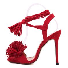 Red Faux Suede Tassel Ankle Tied Sandals (€33) ❤ liked on Polyvore featuring shoes, sandals, ankle strap platform sandals, peep toe flats, ankle strap sandals, red ankle strap flats and platform sandals