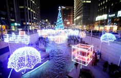 South Korea celebrates the holiday by lighting up the Cheonggyecheon stream in Seoul.