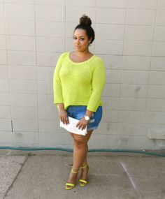 """neon and shorts  #curvy #thick  """"if you follow my Curvy Girl's Spring/Summer Closet, make sure to follow my Curvy Girl's Fall/Winter Closet.""""   http://pinterest.com/blessedmommyd/curvy-girls-fallwinter-closet/"""