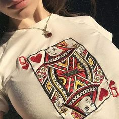 Queen Of Hearts Crop Tee, embroidery, embroidered crop top, white, spades, tumblr aesthetic embroidery,, , grunge, soft grunge, grunge fashion, aesthetic clothes, aesthetic outfit, pale grunge, pastel grunge, aesthetic tumblr