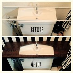 Interior examples such as bath / toilet / tankless style / tankless DIY / stripe / masking tape Diy Rv, Budget Bathroom, Diy Desk, Diy Storage, Diy Woodworking, Diy Kitchen, Home Decor Accessories, Home Organization, Home Interior Design