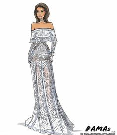 Gigi Hadid @amas by @emmakennyillustrations  Be Inspirational ❥ Mz. Manerz: Being well dressed is a beautiful form of confidence, happiness & politeness