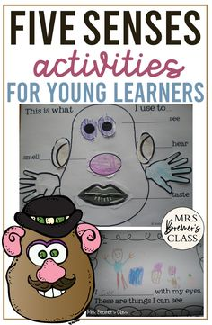 Five Senses unit with activities, student booklet, craftivities featuring Mr Potato Head, worksheets, & posters for the 5 senses for Kindergarten and First Grade 5 Senses Activities, 1st Grade Activities, Morning Activities, Kindergarten Math Activities, Kindergarten Science Experiments, Teaching Science, Science Activities, Teaching Ideas, Five Senses Worksheet