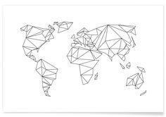 Geometrical World - white en Affiche premium   JUNIQE