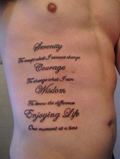 "Mens Quote #Tattoo ""Serenity, Courage, Wisdom, Enjoying Life"""
