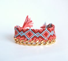 Friendship bracelet with chain, coral, red and blue bracelet, tribal bracelet, boho bracelet, chunky chain bracelet by LeiniJewelry on Etsy