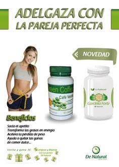 Adelgaza con la pareja perfecta garcnia y café verde. http://www.denatural.es/topventas/cafe-verde-descafeindao-bote-de-garcinia-cambogia