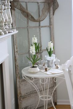 my loves - old chippy windows or doors, burlap, white, vintage feed sacks, romantic rooms