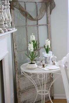 my loves - old chippy windows or doors, burlap, white, vintage feed sacks, romantic rooms