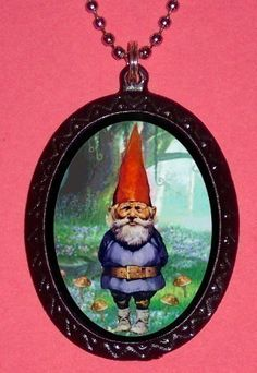 Creepy Cute Gnome in Forest with Mushroom plants Handcrafted Handcasted Metal Pendant Handpainted Black with silvertone ballchain necklace. $7.00, via Etsy.