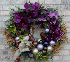 Purple Poinsettia Wreath Christmas Wreath Ornament by AndtheBLOOM