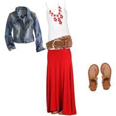Red maxi skirt; wish I could wear maxi skirts.