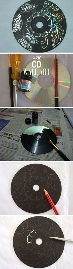 Check out how to make DIY wall art form old CDs @istandarddesign