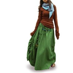 Peacock  cotton linen maxi skirt / green maxi by idea2lifestyle