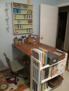Nearly everything in this craft room came from the thrift store or was second-hand!