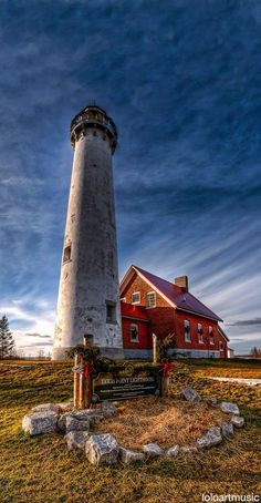 Tawas Point Light Tawas Bay in Lake Huron in Baldwin Township in Northern Michigan Terra Nova, Lighthouse Pictures, Lighthouse Art, Point Light, Lake Huron, Beacon Of Light, Le Moulin, Great Lakes, Architecture
