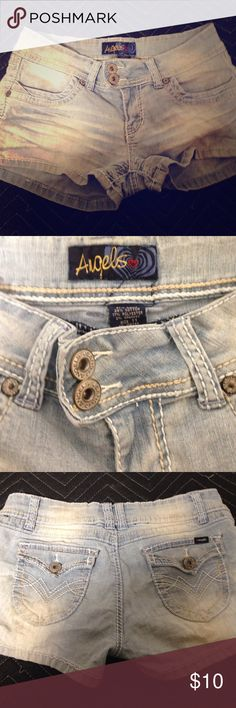 Angels Jeans faded shorts Faded Jean shorts by Angels Jeans. 2 pockets in the front and 2 in back. Size 11 in juniors. Stretchy. In excellent condition ❤ Angels Shorts Jean Shorts
