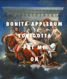 "flyartproductions: ""Hey Bonita nice to meet ya Mars disarmed by Venus and the Three Graces (1824), Jacques-Louis David / Bonita Applebum, A Tribe Called Quest """