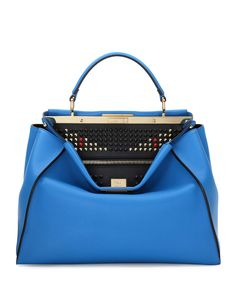 Fendi Peekaboo Large Monster Eye Satchel Bag, Blue