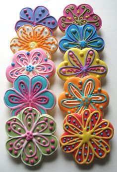 Flowers!! - More flower cookies in various designs and colors. Sugar cookies with royal icing.