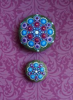 Jewel Drop Mandala Painted Stone Lavender Fields by ElspethMcLean, $39.00