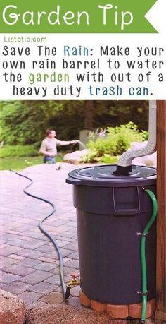 Rain barrel. Note spigot on bottom, overflow valve on top.  20 Insanely Clever Gardening Tips And Ideas #OrganicGardeningTips