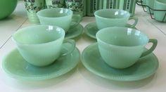 4 Sets Fire King Jadeite Jane Ray Coffee Cups & Sauers ~ Jadite Green Glass