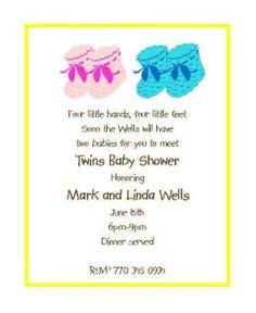 Booties - Twin Baby Shower Invitations