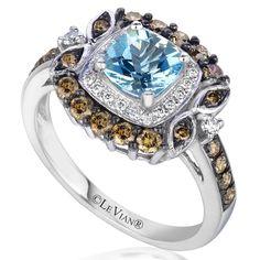Le Vian 14K Vanilla Gold Sea Blue Aquamarine Ring with .69 Carat Chocolate and Vanilla Diamond