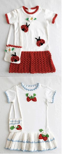 CROCHET INSPIRATION! - This is a great idea to keep kids' T-shirts one more year by adding crochet and transforming them into great tunics or dresses!!