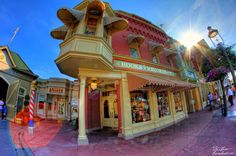 The Emporium on Main Street USA in Walt Disney World's Magic Kingdom is a great place to shop. And to catch some sun flare.