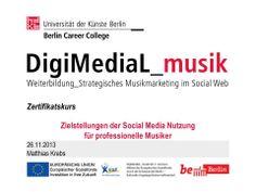 Ebenfalls aus dem Zertifikatskurs: Bei unserem Kursleiter Matthias Krebs ging es heute um die professionelle Social-Media-Nutzung - Wie formuliere ich Ziele? Welche Inhalte können kommuniziert werden? http://www.digimedial.de/zertifikatskurs