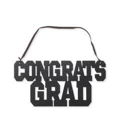 Congrats Grad Black Glitter Sign w/ Ribbon Hanger/Case of 12 Motto, Graduation Decorations, Hanging Signs, Black Glitter, Party Supplies, Hanger, Ribbon, Reading, Products